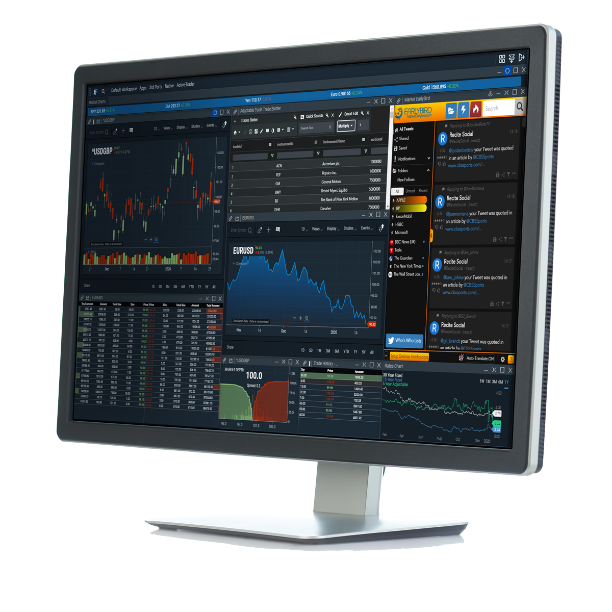 Ecosystem of applications on computer monitor