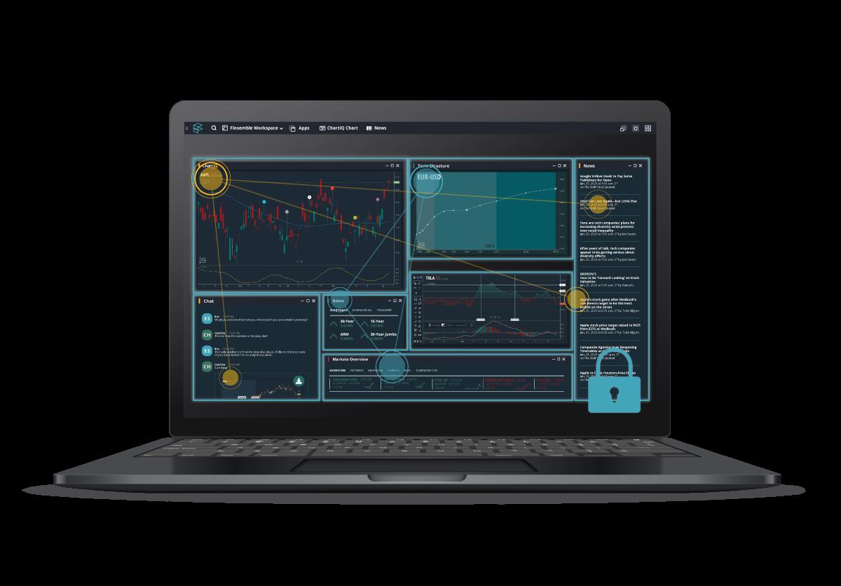 Finsemble secure app interop on dark laptop