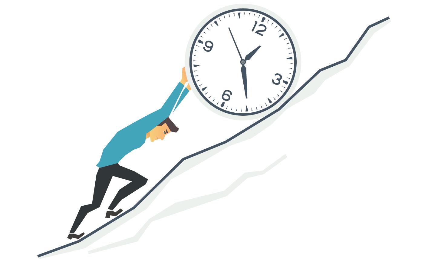 Person pushing clock uphill