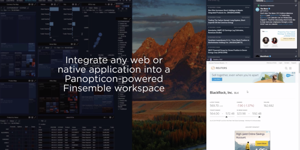 Integrate any web or native application into a Panopticon-powered Finsemble workspace